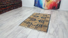 Blue and Pastel Turkish Area Rug Shiny Wool Carpet