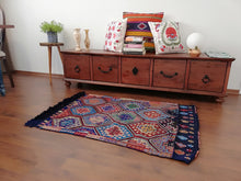 "4,1"" x 2,9"" ft. Blue Mut Turkish Kilim T-026"