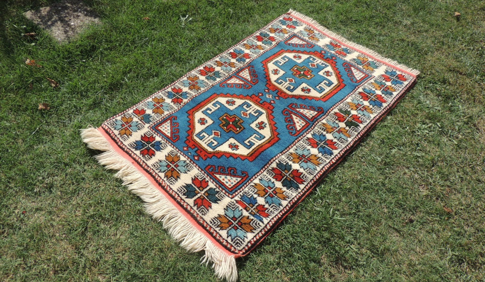 Blue Geometric Turkish Wool Carpet