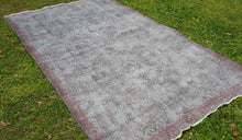 Vintage Ice Blue Color Overdyed Turkish Area Rug