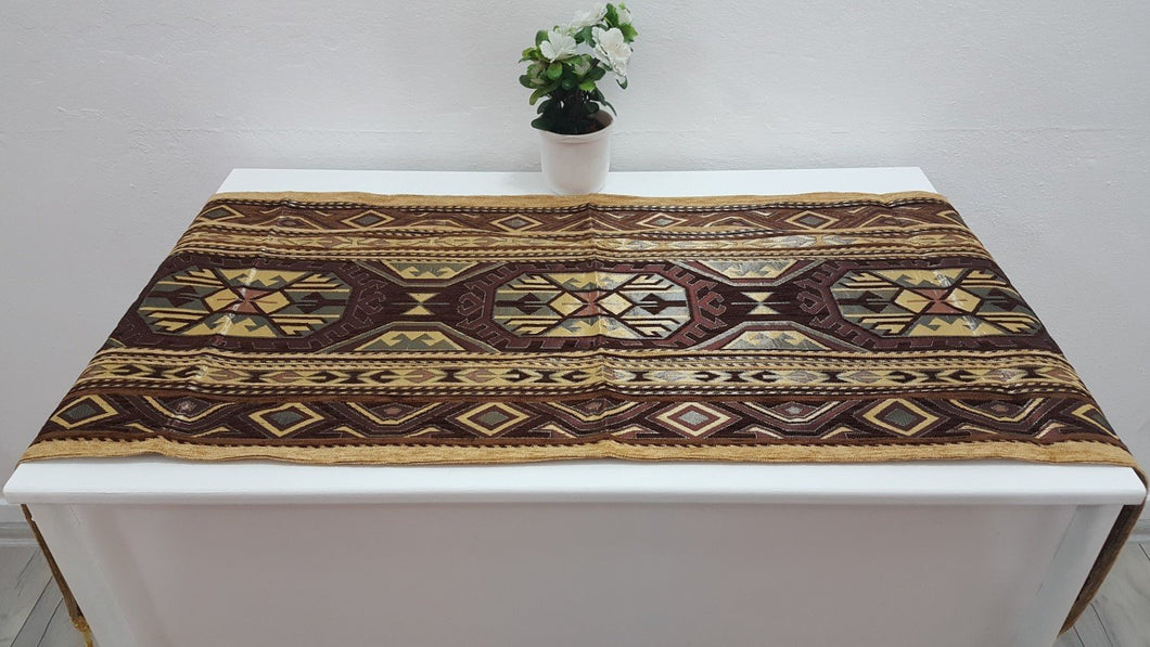 Bronze Colour Tapestry Runner Kilim Motifs