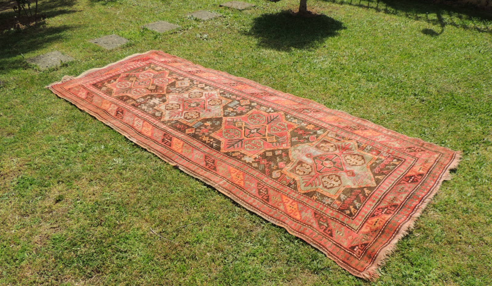 Semi Antique Caucasian Runner Rug with Star Design - bosphorusrugs  - 1