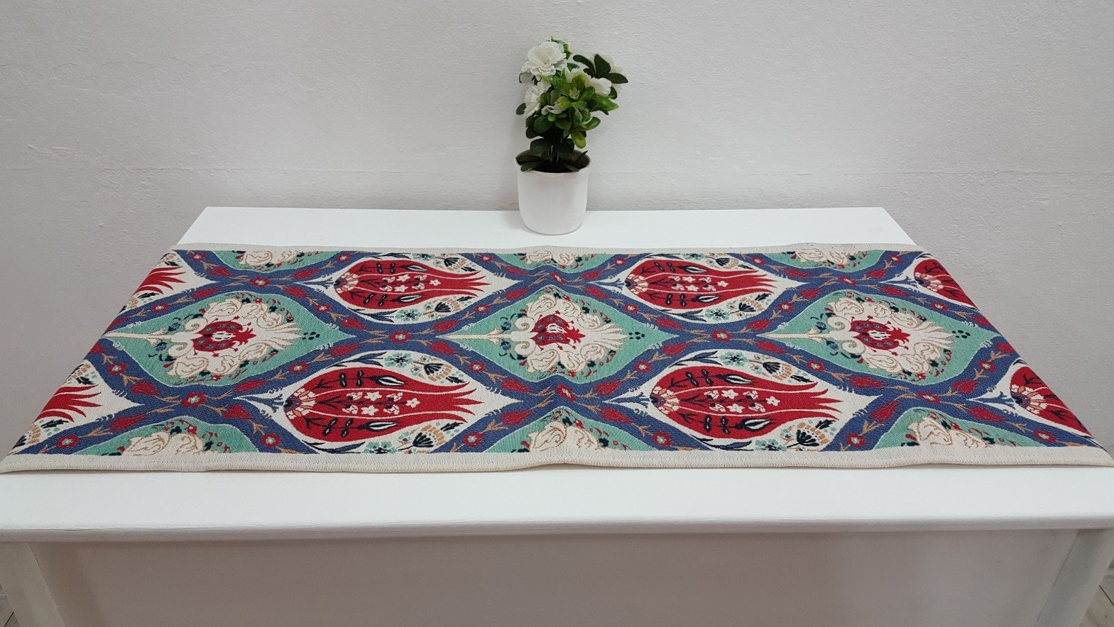 Ceramic Tile Designed Exotic Fabric Runner