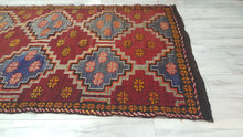 Circa 1970's Turkish Bohemian Kilim Rug Red and Blue