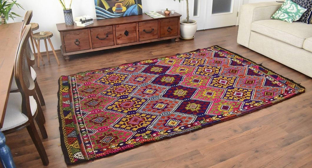 Boho Kilim Rug Anatolian Weaving Authentic Mut Kilim
