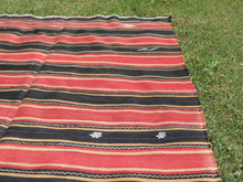 Red and black Striped Nomad kilim - bosphorusrugs  - 4