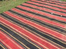 Red and black Striped Nomad kilim - bosphorusrugs  - 5