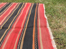 Red and black Striped Nomad kilim - bosphorusrugs  - 6