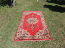 Retro red Turkish carpet on sale