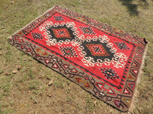 4x6 Red Turkish kilim rug - bosphorusrugs  - 4