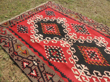 4x6 Red Turkish kilim rug - bosphorusrugs  - 5