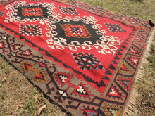 4x6 Red Turkish kilim rug - bosphorusrugs  - 6
