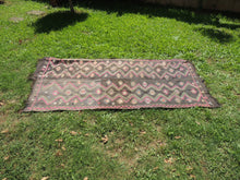 Black Embroideried kilim rug
