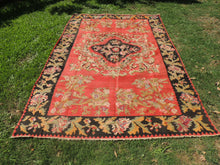 Red and Black Karabakh kilim rug floral - bosphorusrugs  - 2