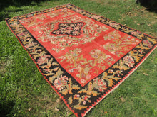 Red and Black Karabakh kilim rug floral - bosphorusrugs  - 3