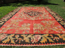 Red and Black Karabakh kilim rug floral - bosphorusrugs  - 4