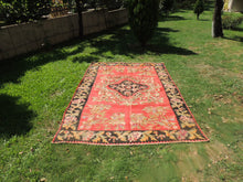 Red and Black Karabakh kilim rug floral - bosphorusrugs  - 5