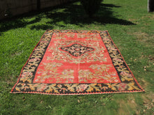 Red and Black Karabakh kilim rug floral - bosphorusrugs  - 6