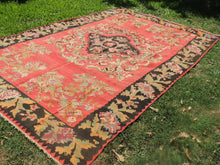 Red and Black Karabakh kilim rug floral - bosphorusrugs  - 7