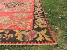 Red and Black Karabakh kilim rug floral - bosphorusrugs  - 8