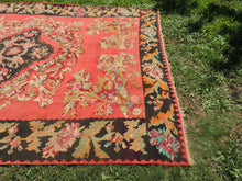 Red and Black Karabakh kilim rug floral - bosphorusrugs  - 10