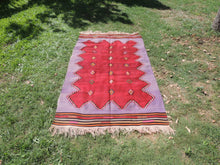 Handwoven Purple Tribal Kilim Rug - bosphorusrugs  - 2