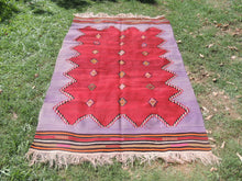 Handwoven Purple Tribal Kilim Rug - bosphorusrugs  - 3