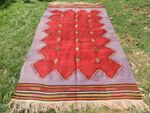 Handwoven Purple Tribal Kilim Rug - bosphorusrugs  - 8