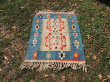 Cute blue boho kilim rug - bosphorusrugs  - 2