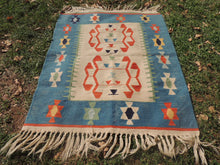 Cute blue boho kilim rug - bosphorusrugs  - 3