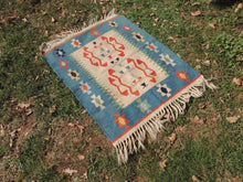 Cute blue boho kilim rug - bosphorusrugs  - 4