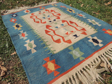 Cute blue boho kilim rug - bosphorusrugs  - 5