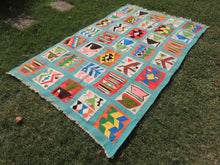 Retro Light Blue Art Deco Kilim Rug - bosphorusrugs  - 3