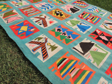 Retro Light Blue Art Deco Kilim Rug - bosphorusrugs  - 5