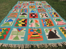 Retro Light Blue Art Deco Kilim Rug - bosphorusrugs  - 6