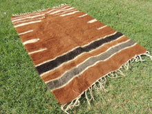 Brown Natural Undyed Goat Hair Turkish Prayer Rug - bosphorusrugs  - 4
