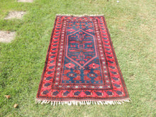 Navy and Red Turkish Wool Carpet Yagcıbedir - bosphorusrugs  - 2