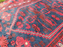 Navy and Red Turkish Wool Carpet Yagcıbedir - bosphorusrugs  - 5