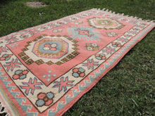 Pink Wool Turkish Area Rug Home Decor Carpet - bosphorusrugs  - 6