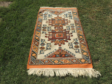 Orange and Beige Wool Turkish Carpet - bosphorusrugs  - 2
