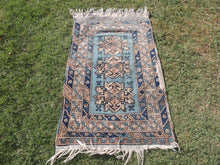 Vintage Geometric Caucasian Area Rug with Shades of Blue - bosphorusrugs  - 2