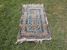 Vintage Geometric Caucasian Area Rug with Shades of Blue - bosphorusrugs  - 3