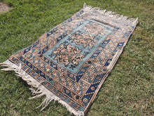 Vintage Geometric Caucasian Area Rug with Shades of Blue - bosphorusrugs  - 4