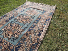 Vintage Geometric Caucasian Area Rug with Shades of Blue - bosphorusrugs  - 5