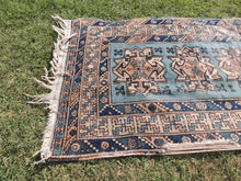 Vintage Geometric Caucasian Area Rug with Shades of Blue - bosphorusrugs  - 6