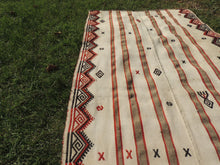 White Bohemian Kilim Rug with Tribal Motifs - bosphorusrugs  - 6