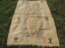 Small Boho Turkish Kilim Rug with Earthy Pastel Colors - bosphorusrugs  - 3