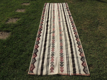 White striped Boho Runner Kilim Rug - bosphorusrugs  - 2