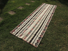 White striped Boho Runner Kilim Rug - bosphorusrugs  - 3