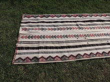 White striped Boho Runner Kilim Rug - bosphorusrugs  - 5